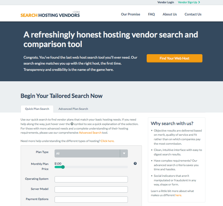 Search Hosting Vendors